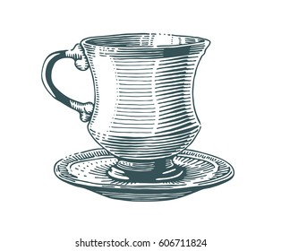 Hand drawn tea cup illustration in engraving style for menu or cafe. Black vintage cup plate isolated on white background