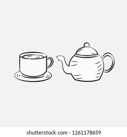 hand drawn tea pot and cup icon template design