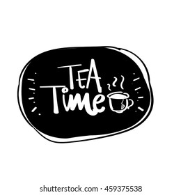 hand drawn tea time vector lettering word