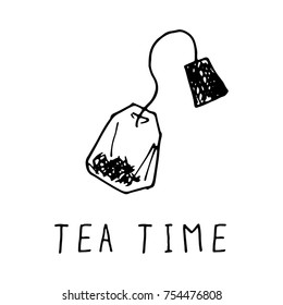 Hand Drawn Teabag Doodle Vector Illustration with Handwritten Words Tea Time Black on White Background