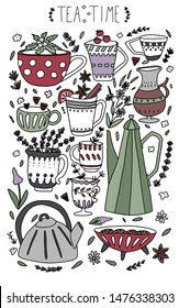 Hand drawn teapot and cup collection with herbs and flowers. Vector colorful tea cups, coffee cups and teapots isolated on white background with lavender, peppermint, raspberry, cranberry and cookies.