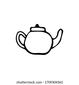 Hand drawn teapot illustration in vector on white background. Doodle teapot illustration