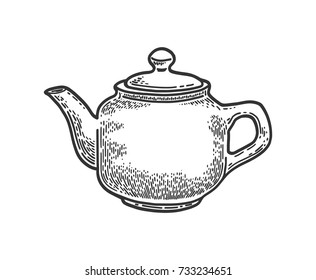 Hand drawn teapot on white background. Vector vintage engraved illustration.