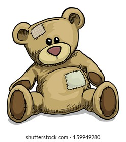Hand drawn teddy bear isolated on white, vector illustration