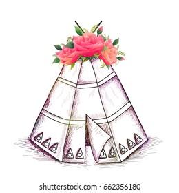 Hand drawn Teepee or Wigwam with beautiful flowers, Creative Boho style vector illustration.