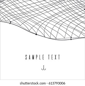 hand drawn template or border with fishnet. fishing and sea theme card or invitation. place for text