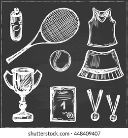 Hand drawn Tennis game set Isolated Vector illustration equipment Sport symbols Racket tennis ball tennis dress