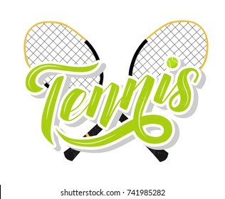 Hand drawn Tennis lettering text with tennis racets and ball on white background, vector illustration. Tennis calligraphy. Sport, fitness, activity vector design. Print for logo, T-shirt and caps.