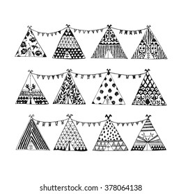 Hand drawn tepee collection in vector. Wigwam illustration.