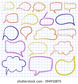 Hand drawn text bulbs on notebook paper. VECTOR. Set of colorful frames.
