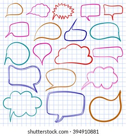 Hand drawn text bulbs on notebook paper. VECTOR. Set of colored frames.