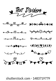 Hand drawn text dividers and border Lines with heart. use for concept design. doodle design elements. vector illustration