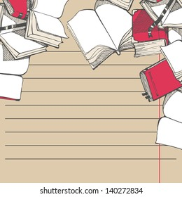 Hand drawn text form with school open books. Colored sketch style vector background