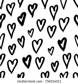 Hand drawn texture. Hearts, brush strokes, seamless pattern made with ink. Artistic fabric pattern. Valentine's day background