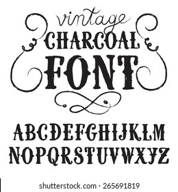 Hand drawn textured decorative vintage charcoal vector ABC letters on old paper background. Nice font for your design.
