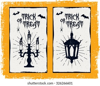 Hand drawn textured Halloween card with candlestick, lantern, and bats
