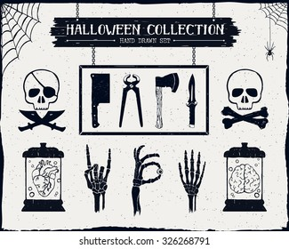 Hand drawn textured Halloween set of steel arms, skulls, embalmed heart and brain, and skeleton hands illustrations.