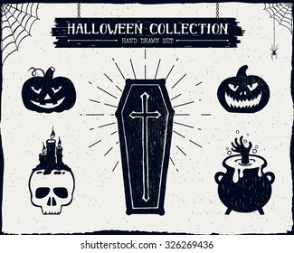 Hand drawn textured Halloween set of a coffin, jack-o-lanterns, skull, cauldron, and spiderwebs vector illustrations.