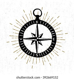 Hand drawn textured icon with compass rose vector illustration.