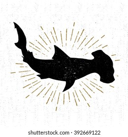 Hand drawn textured icon with hammerhead shark vector illustration.