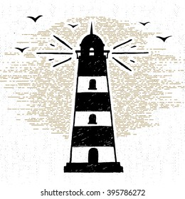 Hand drawn textured icon with lighthouse vector illustration.