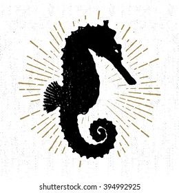 Hand drawn textured icon with seahorse vector illustration.