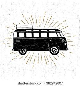 Hand drawn textured vintage icon with minivan vector illustration.