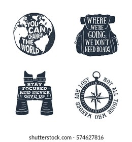 Hand drawn textured vintage labels set with planet Earth, backpack, binoculars, and windrose vector illustrations and lettering.