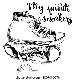 c49b0cf20b1c Hand drawn textured vintage sneakers vector illustration and inspirational  lettering.