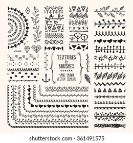 Hand drawn textures and brushes. Artistic collections of design elements: flowers, brunches, plants, geometric shapes, ethnic patterns made with ink. Pattern brushes are included in EPS.