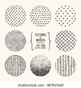 Hand drawn textures and brushes. Artistic collection of design elements: dots, hearts, brush strokes, paint dabs, wavy lines, abstract backgrounds, patterns made with ink. Isolated vector.