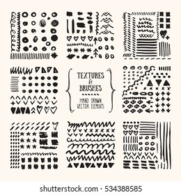 Hand drawn textures and brushes. Artistic collection of design elements: grunge lines, brush strokes, wavy lines, tribal backgrounds, geometric pattern made with ink. Isolated vector set.