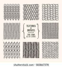 Hand drawn textures and brushes. Artistic collection of design elements: needlework, yarn loops, knitted fabric, rough cloth, simple textile, handicraft patterns made with ink. Isolated vector set.