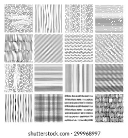 Hand drawn textures, template,. Hatching drawn seamless, pattern, vector design elements Vector set of  background texture, points, strokes, ornament in grunge style