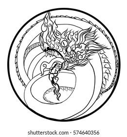 Hand drawn Thai Dragon in circle, Thailand Style and Tattoo design