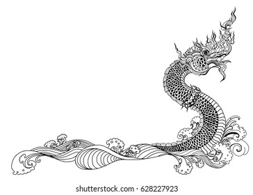 Hand drawn Thai Dragon on water, Line Thai is Thailand Style and Tattoo design