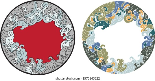 Hand drawn Thai wave in circle.Doodle art style asian ocean wave tattoo.Japanese wave in circle.