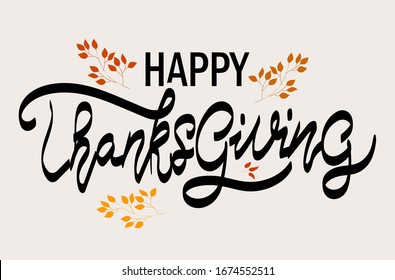 Hand drawn Thanks text. Thanksgiving lettering typography poster.Celebration quotation on textured blackboard background for postcard, badge,logo, icon, card.Vector calligraphy text.