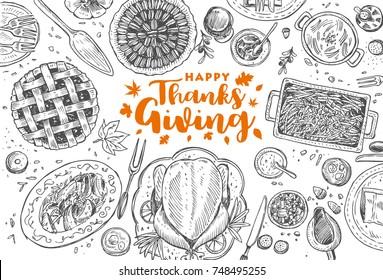 Hand drawn Thanksgiving dinner, Vector Illustration