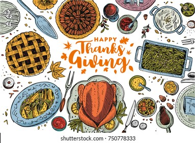 Hand drawn Thanksgiving dinner, Vector Illustration