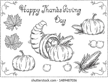 Hand drawn Thanksgiving set at retro style. Vector  with hand written text,  many vegetables and leaves on white background