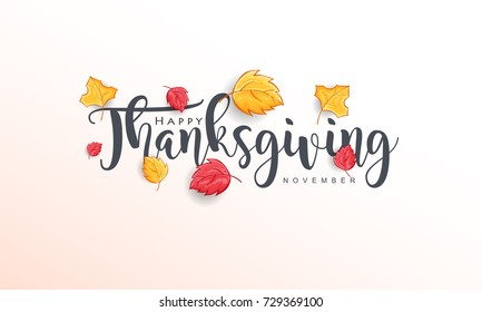 Hand drawn Thanksgiving typography with Leaves. Thanksgiving vector vintage style calligraphy for Poster, Postcard and Invitation card