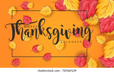 Hand drawn Thanksgiving typography with leaves on Yellow Background. Thanksgiving vector vintage style calligraphy for Poster, Postcard and Invitation card