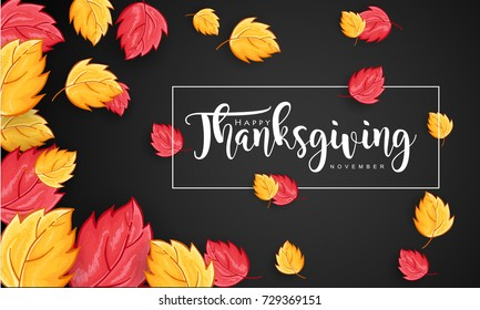 Hand drawn Thanksgiving typography with leaves on Black Background. Thanksgiving vector vintage style calligraphy for Poster, Postcard and Invitation card