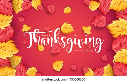 Hand drawn Thanksgiving typography with leaves on red Background. Thanksgiving vector vintage style calligraphy for Poster, Postcard and Invitation card