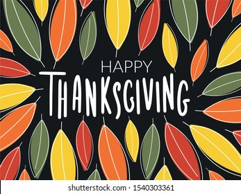 """Hand drawn Thanksgiving typography poster. Celebration quote """"Happy Thanksgiving"""" on blackboard background for print, postcard, icon, badge.Vector illustration. Vintage style calligraphy and lettering"""