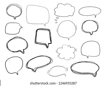 Hand drawn think and talk speech bubbles. Abstract symbols on white. Pattern of loot for words. Line art. Collection of different signs. Black and white illustration