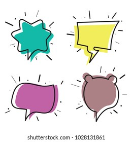 Hand drawn thought and speech bubbles. empty speech bubbles. sketch hand drawn color set vector illustration.