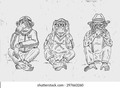 Hand drawn of three wise monkeys, vector