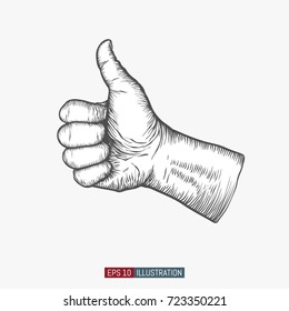 Hand drawn thumb up gesture. Engraved style vector illustration. Element for you design works.